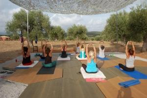yoga session at eumelia's yoga deck